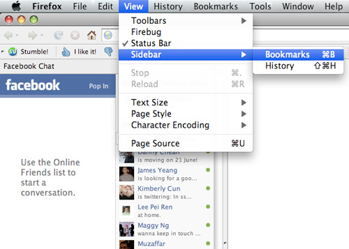 Place Facebook Chat On Firefox Sidebar