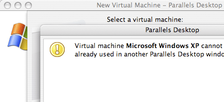 it is already used in another parallels desktop: